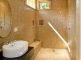 Wetroom: doorless, curbless shower with bench, but not even a half-wall