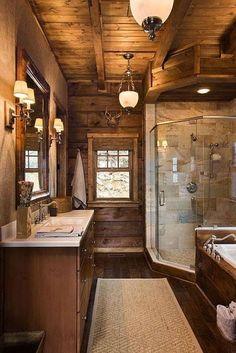Love this bath Cabin Bathrooms, Dream Bathrooms, Rustic Bathrooms, Wooden Bathroom, Lodge Bathroom, Amazing Bathrooms, Rustic Bathroom Shower, Cabin Bathroom Decor, Earthy Bathroom