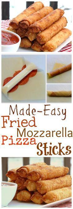 Fried Mozzarella Pizza Sticks Made Easy from NoblePig.com.