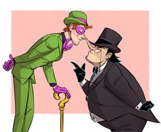 """"""" Penguin and Riddler : pose 2 C please ( by the way, you're awsome) - Anonymous """" Cheeky tol and angery smol. Penguin And Riddler, Penguin Art, Gotham Tv, Gotham Series, Victor Zsasz, Gotham Villains, Yuri, Dc World, Famous Cartoons"""