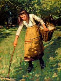 Gathering Wool by Henry Herbert La Thangue (1859-1929, English)