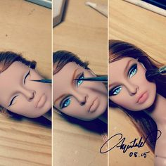 """This is how the beauty is born"" Eugenia is our favorite face. Repainted by… Eugenia Perrin Frost Doll Repaint Tutorial, Doll Tutorial, Doll Face Paint, Doll Painting, Custom Barbie, Custom Dolls, Fashion Royalty Dolls, Fashion Dolls, Ooak Dolls"