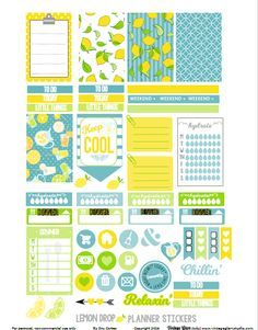 Free Printable Lemon Drop Planner Stickers {page 2} from Vintage Glam Studio