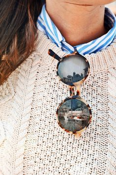 cable knit & tortoise sunnies