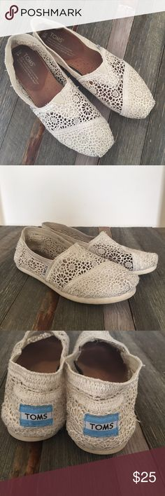 Natural Crochet TOMS Worn once on my wedding day and still in great condition. The bottoms have slight wear but still have a ton of life left. Incredibly comfortable. The color on the TOMS website is Natural. * NO TRADES * TOMS Shoes Flats & Loafers