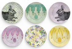 Easter eggs and Bunnies   Six 10 inch Melamine by TheMadPlatters, $108.00
