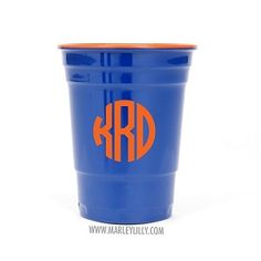 Monogrammed Blue and Orange Rednek Party Cup
