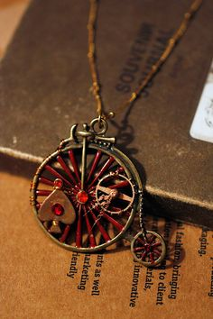 OOAK Steampunk Antiqued brass bicycle large pendant by DevilsJewel