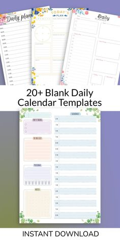 This collection of Blank Daily Calendar Templates is strict and simple in design. This planner is designed specifically to make you mindful, well motivated, self-organized and start enjoying what you do every day. All your social affairs can be organized efficiently right here and travel along with you in your purse. Daily Calendar Template, Planner Template, Calendar Printable, Self Organization, Mindfulness, Bullet Journal, How To Plan, Motivation, Purse