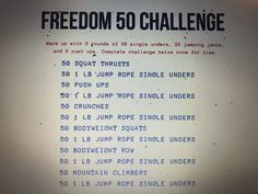 Crunches, Squats, 50 Push Ups, Jump Rope Workout, Jumping Jacks, Challenges, Cheer Abs, Squat