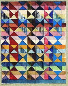 Gunta Stölzl ~ Design for a Jacquard woven textile Mounted on cardboard, and inscribed 'Jacquardentwürfe G. Stölzl 1927 Dessau'