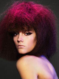 purple pink hair color - vogue magazine - crimped hair -vogue china - shot in paris at studio rouchon in 2005.  Photo: greg kadel,  Hair: nicolas jurnjack