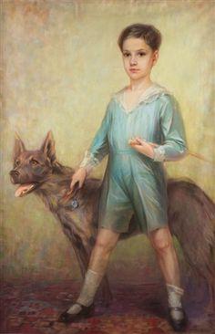 Portrait of a Boy with Dog -- by Tadeusz Styka