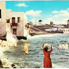Vintage postcard of the Greek island of Mykonos. Note the historic windmills in the background. Mykonos Island, Mykonos Greece, Santorini, Matthieu Bourel, Places To Travel, Places To Visit, Myconos, Vintage Travel Posters, Greek Islands
