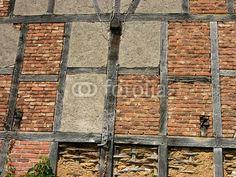 Fachwerkstruktur mit Balken und Mauerwerk in Wettenberg Krofdorf-Gleiberg bei Gießen in Hessen