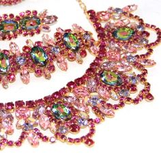 Hot Pink Dimartino Original Watermelon Rhinestone Grand Parure Necklace Set. THIS IS ONE MAGNIFICENT DiMartino Original up for sale.this is signed all pieces,it is in very good condition with little wear where they put the tag