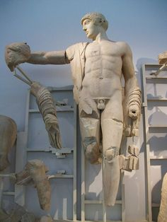 Apollo, Greek statue (marble) from the temple of Zeus in Olympia, century BC, (Archaeological Museum of Olympia). Ancient Greek Art, Ancient Greece, Ancient History, Art History, Roman Sculpture, Sculpture Art, Museum Studies, Greek Statues, Greek And Roman Mythology