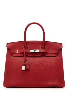 Vintage Hermes from Heritage Auctions 35Cm Rouge Casaque Clemence Leather Birkin
