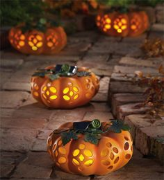 Solar Pumpkin Lights With Automated Dusk And Dawn Timer Happy Halloween Halloween House Outdoor