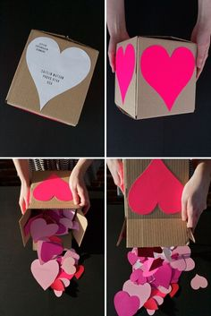 Exploding card box with little things written on every piece of paper