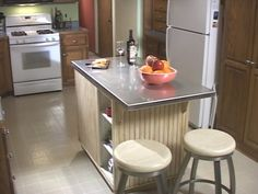 DIY kitchen island with stainless steel top