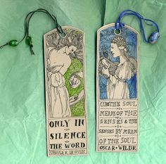 hand printed handmade book marks | Two hand-made and illustrated quote bookmarks . Artwork and ...