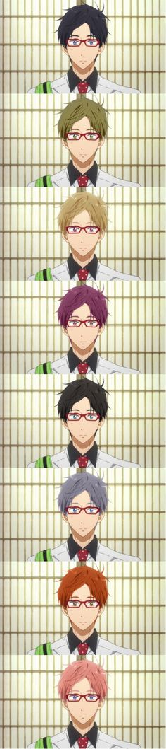 Hair Color Swap: Rei - That boy looks good with ALL of them, dang... O.o
