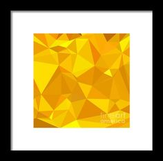 Peridot Yellow Abstract Low Polygon Background Framed Print By Aloysius Patrimonio. Low polygon style illustration of a peridot yellow abstract geometric background. #Lowpolygon #PeridotYellowAbstract