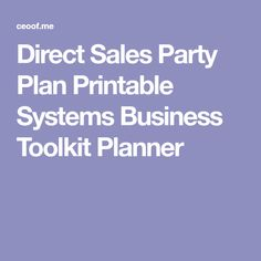 Direct Sales Party Plan Printable Systems Business Toolkit Planner