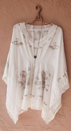 Monoreno Resort beach bohemian gypsy ivory and taupe embroidery kaftan