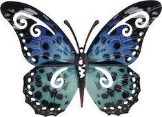 Large Metal Blue Butterfly Garden Decoration Wall Art X 281055 for sale online Garden Wall Art, Blue Butterfly, Home And Garden, Wall Decor, Brooch, Metal, Ornament, Pizza, Gardens