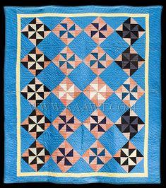Antique Quilt, Amish, Pinwheel, 1930's, entire view