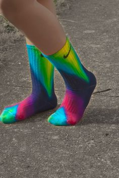Chevron Tie Dye Nike Socks, free hand art, Bright and fun, sports team, athletic wear, lime, turquoise, fuchsia Pink, Navy Tie Dye, school by DardezDesigns on Etsy https://www.etsy.com/listing/129389868/chevron-tie-dye-nike-socks-free-hand-art