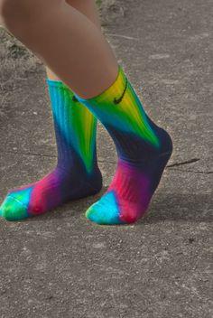 Chevron Tie Dye Nike Socks, free hand art, Bright and fun, sports team, athletic wear, lime, turquoise, fuchsia Pink, Navy Tie Dye, school by DardezDesigns on Etsy https://www.etsy.com/listing/129389868/chevron-tie-dye-nike-socks-free-hand-art