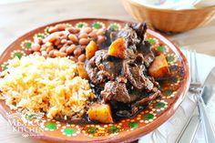 Steak and potatoes in pasilla sauce