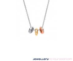 Rose and yellow gold on silver trio polo pendant €39.95 www.jewellerytoyourdoor.com