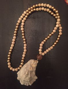 Natural beaded and neutral oyster shell necklace by Carolina Pearlz on Etsy!