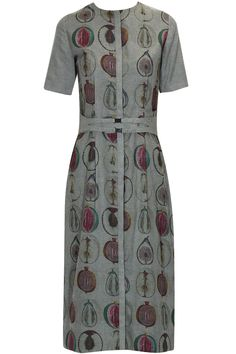 Grey melange cut fruits print dress by Sneha Arora