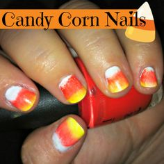 Candy Corn Halloween Nail Art