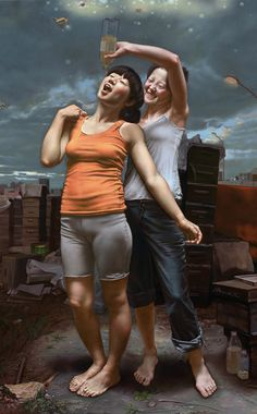 Ma Jing Hu (马精虎), (Chinese, b. 1974), oil on canvas {contemporary realism art happy females standing women drinking cropped painting #loveart}