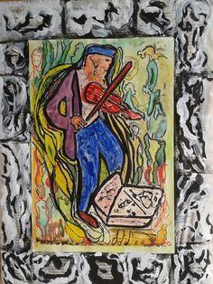 Inspirada em Alechinski Um violinista no parque (A fiddler in the park) Técnica mista sobre  papel Canson sobre jornal (0,52 x 0,32)