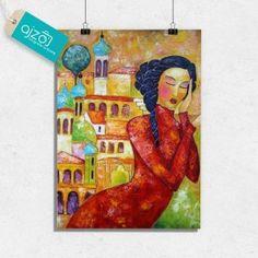 Plakat miasto snu. #kobieta #malarstwo #sztuka #reprodukcja