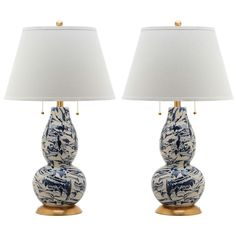 Safavieh Color 28.5 in. Navy and White Swirls Glass Table Lamp (Set of 2)