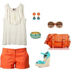 Coral and Aqua, created by rlb3 on Polyvore
