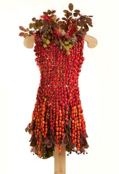 """Little Green Dress Projekt: """"Jérémie"""" is made from Crab-apples, Ligularia leaves and buds, Smoke Bush leaves, Maple leaves, Sweetgum seed pods, False Indigo seed pods, Hemp and Linen thread. #organic #gardening #fashion #art"""