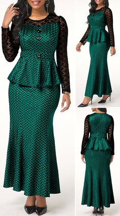 clothing for sale Long Sleeve Round Neck Dark Green Dress African Print Dress Designs, African Print Dresses, African Print Fashion, Latest African Fashion Dresses, African Dresses For Women, African Attire, Bodycon Dress Outfit, Outfits Dress, African Traditional Dresses