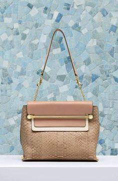 "Chloé ""Clare"" shoulder bag in python and smooth calfskin 3S0346-911-03V SAND DUNE"
