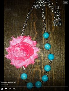 Coral rag flower with turquoise beads.... Leave it at the Cross 3:16
