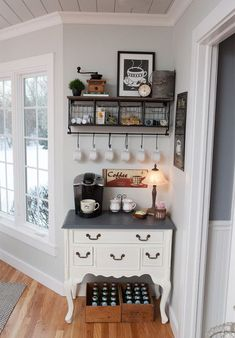 Best Farmhouse Kitchen Decor Ideas to Fuel Your Remodel - Cozy Country White Coffee Nook Best Farmhouse Kitchen Decor Ideas to Fuel Your Remodel - Cozy Country White Coffee Nook - 127 interesting small apartment decorating ideas on a bud. Coffee Nook, Coffee Bar Home, Home Coffee Stations, Coffee Maker, Coffee Corner, Coffee Bars, Coffee Bar Design, Cozy Coffee, Espresso Maker