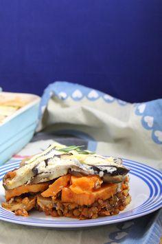 Vegan Moussaka with sweet potato and lentils